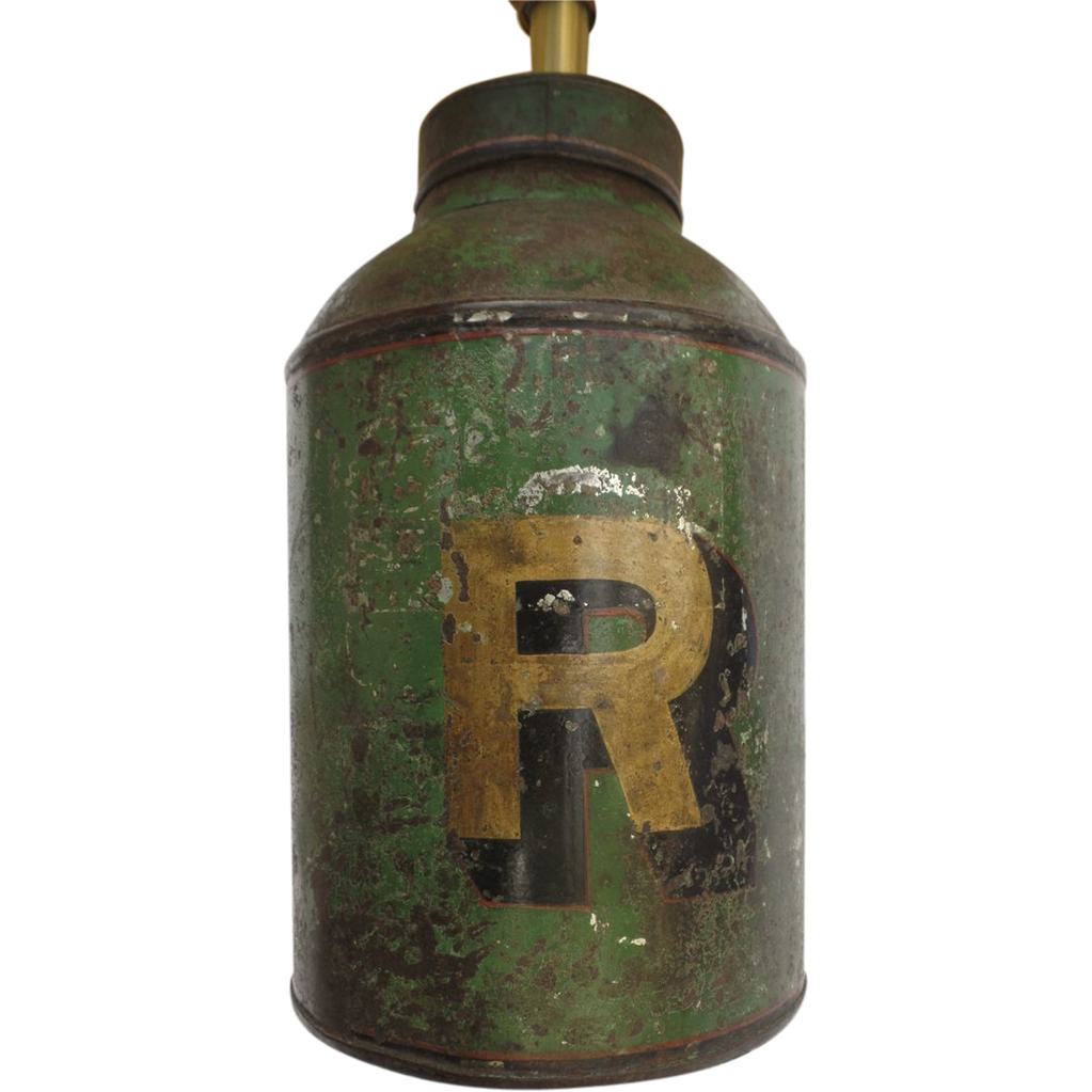 English Tole Tea Canister Number Letter Quot R Quot Now As A Lamp