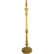 Vintage Italian Carved and Gilt Floor Lamp with Barley Twist Column