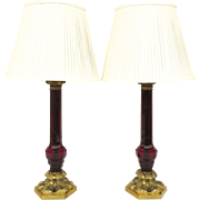 Pair of Vintage William IV Style Glass Column Cranberry Ruby Red Table Lamps by Vaughan Designs London