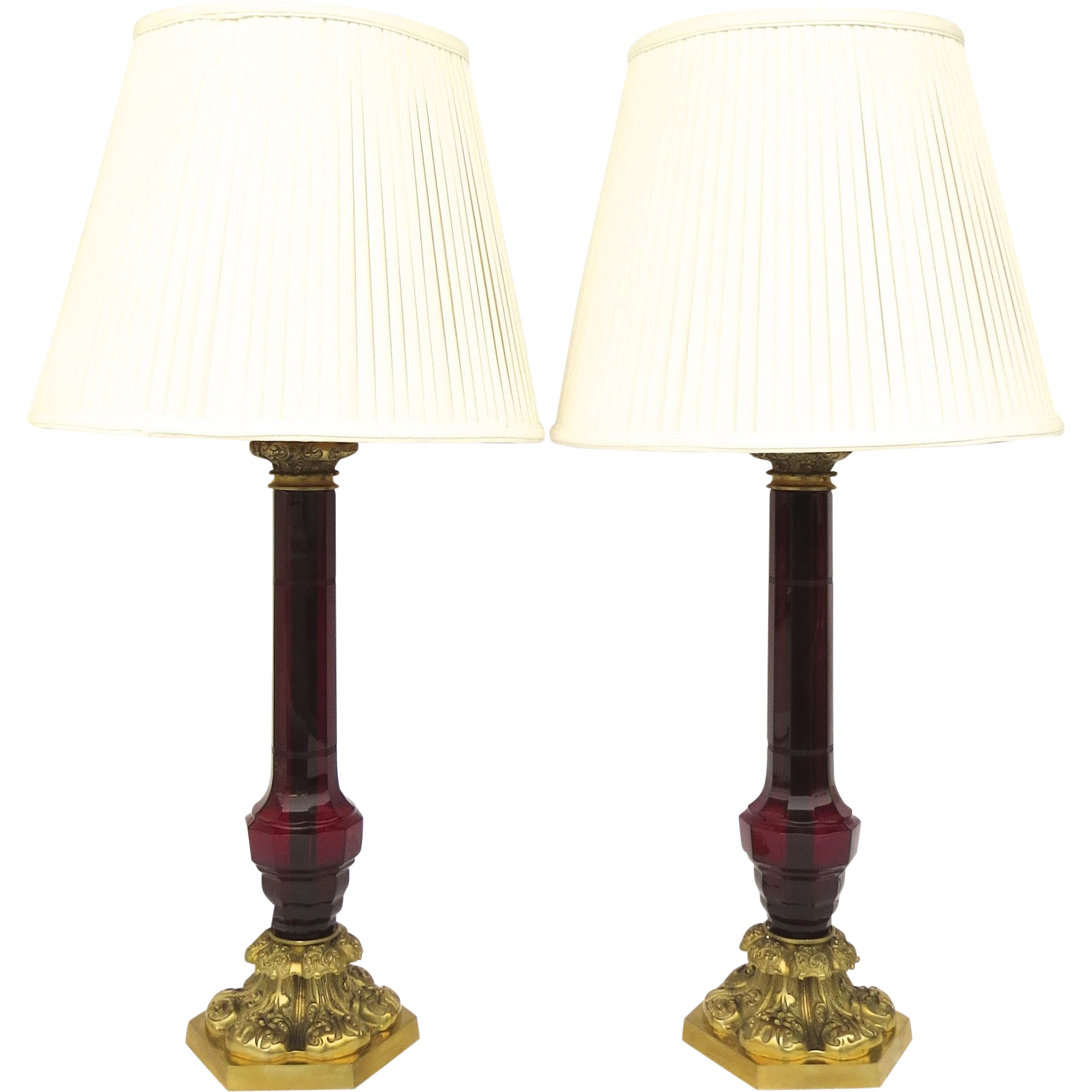 Table lamp vintage style - Pair Of Vintage William Iv Style Glass Column Cranberry Ruby Red Table Lamps By Vaughan Designs London