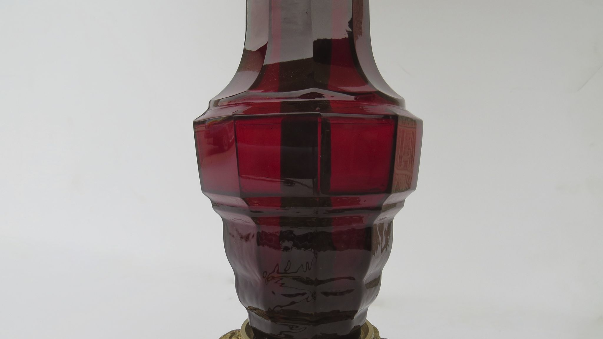 Pair of vintage william iv style glass column cranberry ruby red roll over large image to magnify click large image to zoom geotapseo Gallery