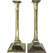 18th Century Pair Brass English Tall Push-Up Candlesticks Fluted Column