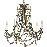 Vintage Mirrored Gilt Balls Chandelier