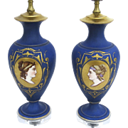 Pair of Porcelain Hand Painted Lamps Women Faces Portraits