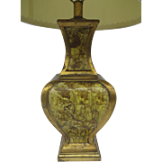Vintage Retro Large Pottery Baluster Table Lamp  Lava Drip Enamel Finish Gold Yellow Gray, 1970