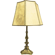 Vintage 1920s Candlstick Brass Lamp with Pigskin Shade