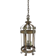 Vintage Iron Long Painted Finish Lantern with Rosette and Fleur de Lis