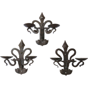 Set of Three (3) Iron Candle Wall Sconces Renaissance Revival