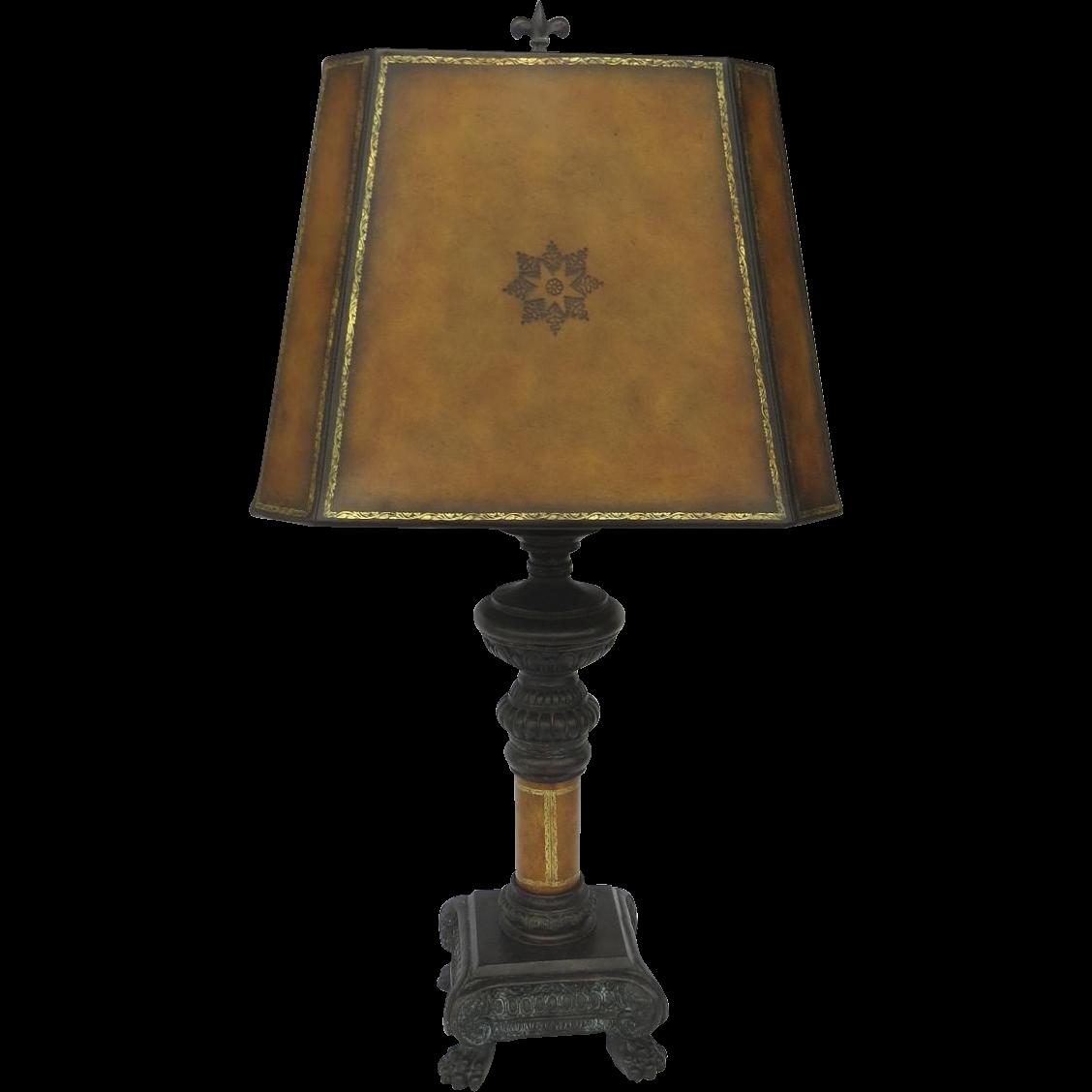 Vintage Maitland Smith Designed Lamp Leather Bronze Paw