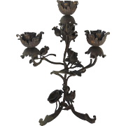 20th century Four Arm Wrought Iron Candelabra with Rose Motif