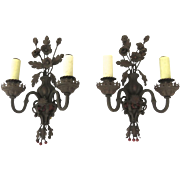 Pair of 1920's Iron Painted Two Arm Wall Sconces with Red Berries Urns Flowers