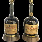 Vintage Pair Liquor Bottle Lamp Courvoisier Cognac France