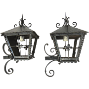 Pair of Iron Exterior Wall Lanterns c 1950 Peaked Tops