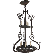 Long Vert de Gris Chandelier Two Tiers Scroll