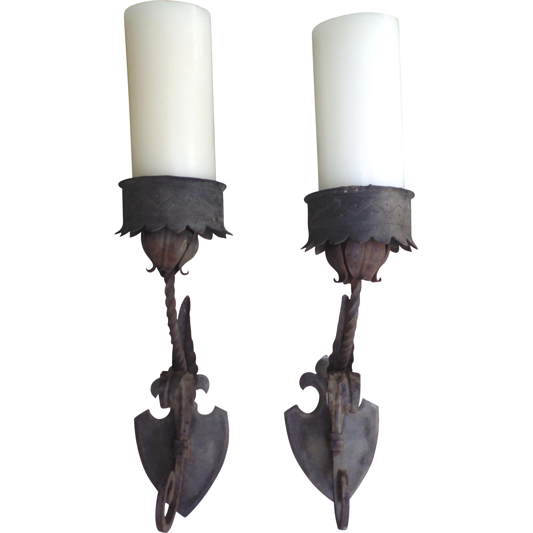 Pair of Nice Older Iron Gothic Style Large Sconces from blacktulip on Ruby Lane