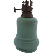 Miniature Courting Oil Lamp 19th Century Turquoise Glass