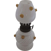 Miniature Courting Oil Lamp 19th Century Milk Glass Applied Flowers