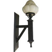 Pair of Large Exterior Wall Sconces with Glass Shades c 1900