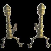 Pair American brass andirons Circa 1830