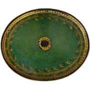 19th Century Oval Green Tole Toleware Tray with Gilt Border