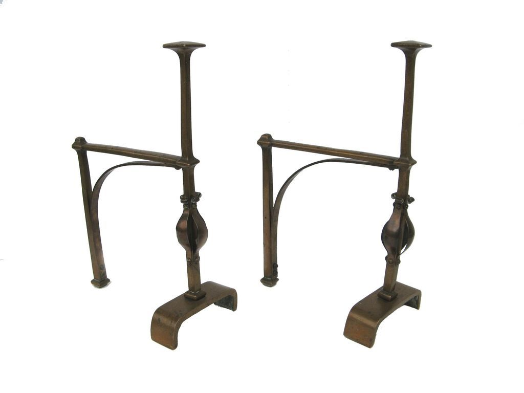 arts and crafts superb andirons u0026 fireplace tools copper planished