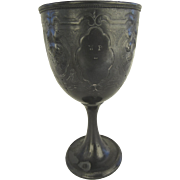 """c 1900's Pewter Gobet Chalice """"Penn House"""" Initials"""