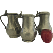 Three (3) English Pewter Tankards with Lids 18th Century