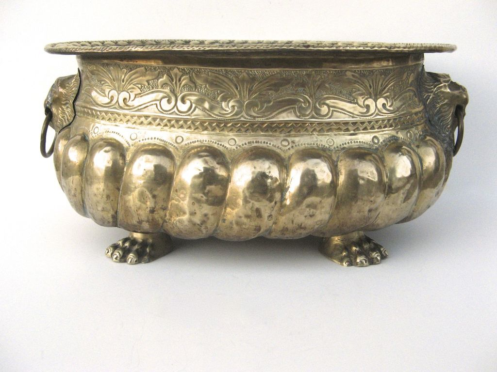 english brass oval jardiniere from blacktulip on ruby lane