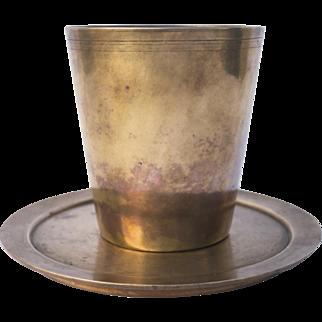 Late 19th Century Cast Bell Metal Beaker & Under Plate