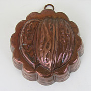 Vintage Copper Plated Tin Foot Mold Walnut