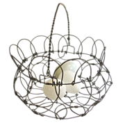 Wire work folding Egg Basket with Handle Glass Blown Eggs
