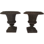 Pair of French Cast iron Urns with Egg & Dart Motif