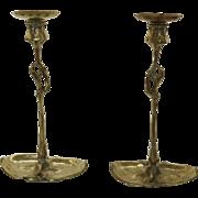 Pair of Art Nouveau Candlesticks Lily Pad