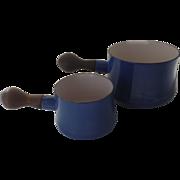 Pair Graduated Vintage Dansk Blue Sauce Pots Saucepans Butter Warmers Spouts