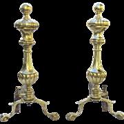 Pair of Brass and Iron Andirons Sheffield - New York