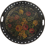 Late 19th Century  Circular Gallery Hand Painted Floral Tole Tray
