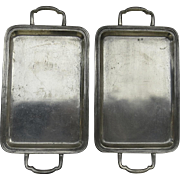 Pair of Mid Century Italian Pewter Trays Made in Italy