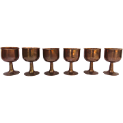 Set of Six Footed Chalice Goblets Copper by Kewaskum Old Colony Copper Co. Wisconsin Anaconda Copper