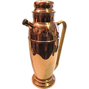 Vintage Copper Cocktail Shaker Carafe with Rattan Handle Covering Spout Stopper and Lid