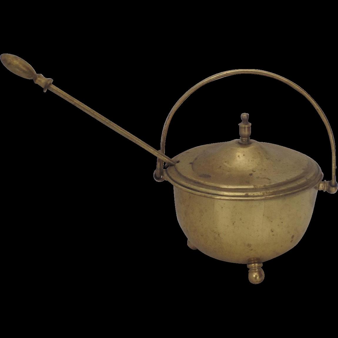 vintage brass smudge pot fire starter fireplace from blacktulip on
