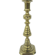 English Brass Push Up Beehive Candlestick