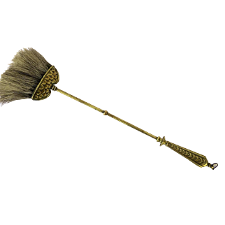 19th Century Brass Fireplace Tool Brush Broom