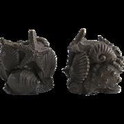 Vintage Bronze Chinese Candlesticks Shell Snail Motifs