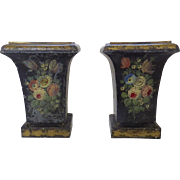 Pair of 1920's Tole Jardinieres Planters Flowers Paw Feet