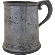 19th Century Pewter Tankard 1 Pint Owner's Name