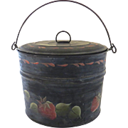 Vintage Hand Painted Metal Lunch Pail Bucket Strawberries Handle Lid Folk Art Country Kitchen