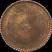 "Vintage Older Solid Copper Huge Persian Iranian Iran Tray 39"" Diameter Ottoman"