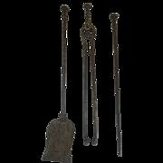 19th Century Three Piece Set Steel Fireplace Tools