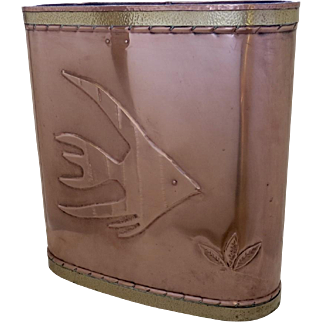 Fish Motif Repousse Copper and Brass Umbrella Stand
