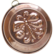 Vintage Copper Food Jelly Mold Round Dragonfly Motif